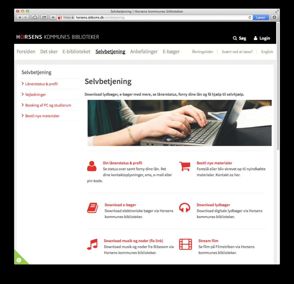 Screenshot af Horsens Kommunes Bibliotekers selvbetjeningsside